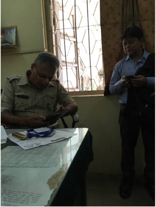 At Majaswadi Police Station where the employee is being questioned