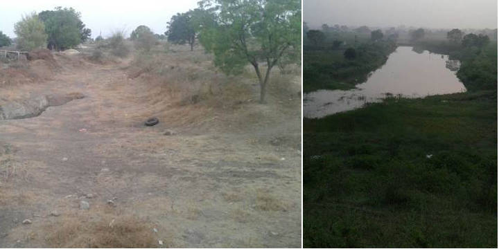 The Akoladev dam before and after desilting